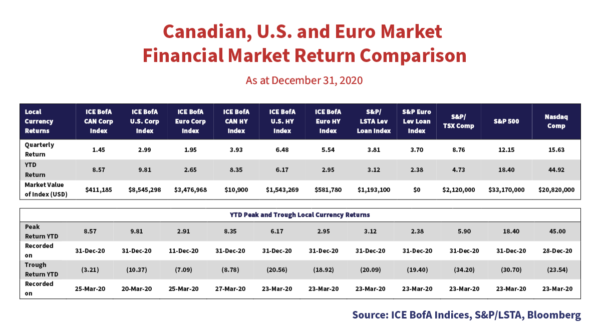 Table showing the Canadian, U.S. and Euro Market Financial Market Return Comparisons as of December 31, 2020.