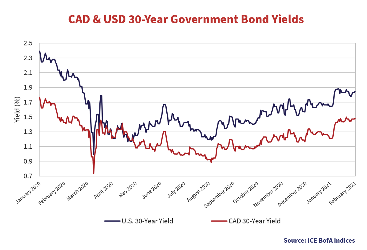 CAD & USD 20-Year Government Bond Yields graph showing yields from every month starting January 2020 to February 2021.