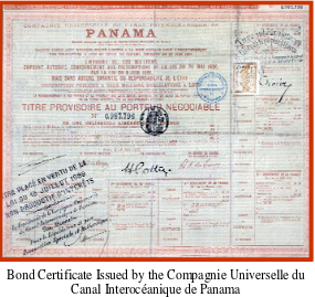 Bond Certificate Issued by the Compagnie Universelle du Canal Interoceanique de Panama