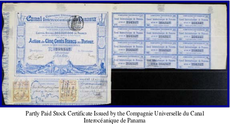 Image shows a partly Paid Stock Certificate Issued by the Compagnie Universelle du Canal Interoceanique de Panama