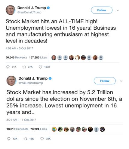 Screencap of Donald J. Trump tweets.
